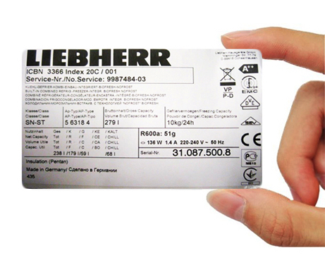 Rating plate in a Liebherr fridge freezer